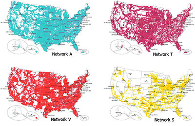 Cellular network coverage maps